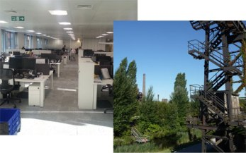 Two photos: a office and a gangway with trees and river in the background