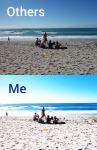 Two views of people on a beach. One very over exposed to demonstrate effect of aniridia